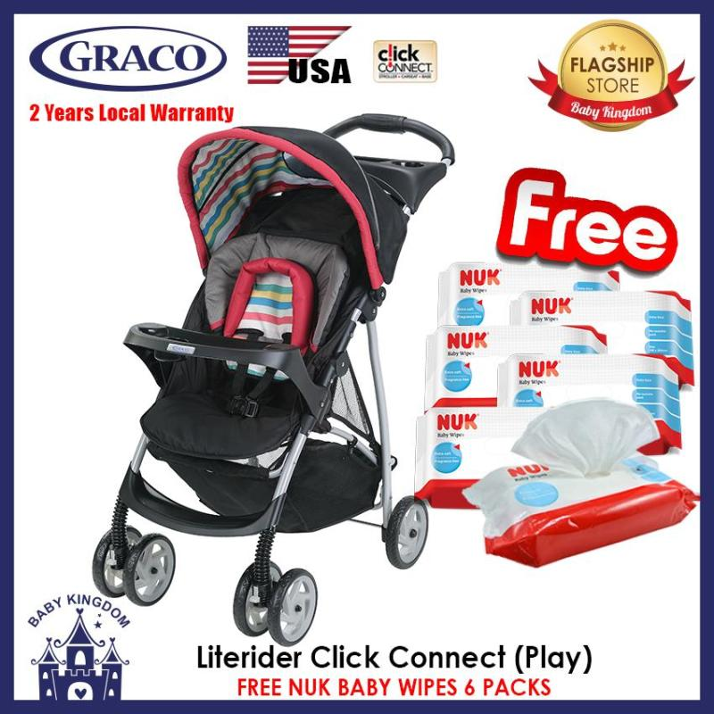 Graco Literider Click Connect Stroller (Play) - Local Warranty FREE NUK Wipes 6 Packs Singapore