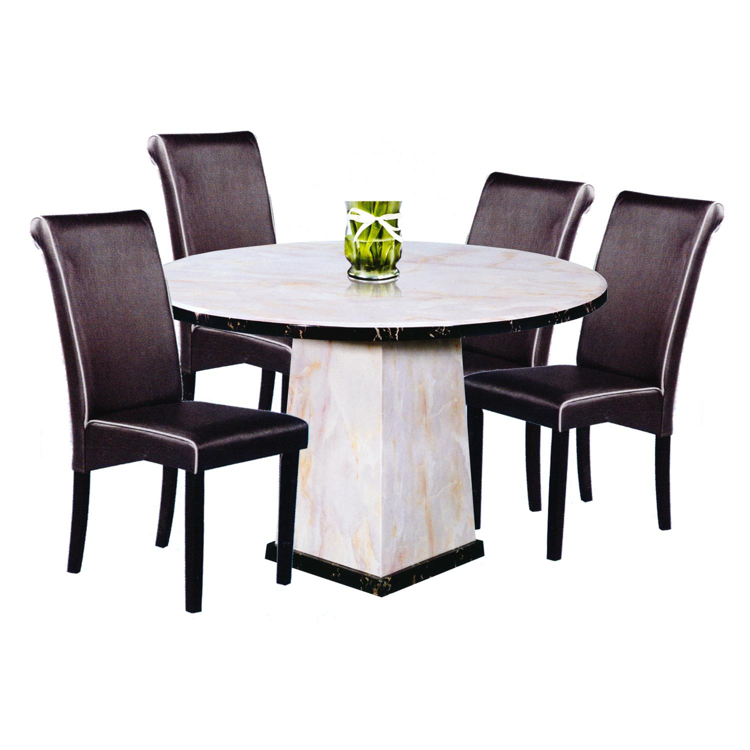 VIJAYA / BARRY Marble Top 1+4 Dining Set