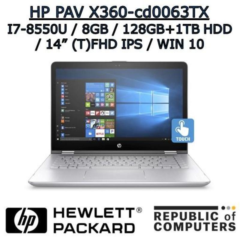 HP PAVILION X360 14-cd0063TX I7-8550U / 8GB / 128GB+1TB / 2GB NVIDIA / 14 FHD IPS / WINDOW 10