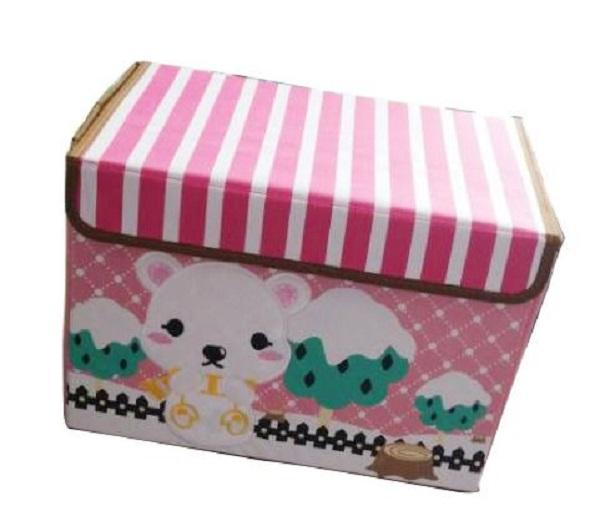 Embroidered Foldable Storage Box for Toys (White Bear)