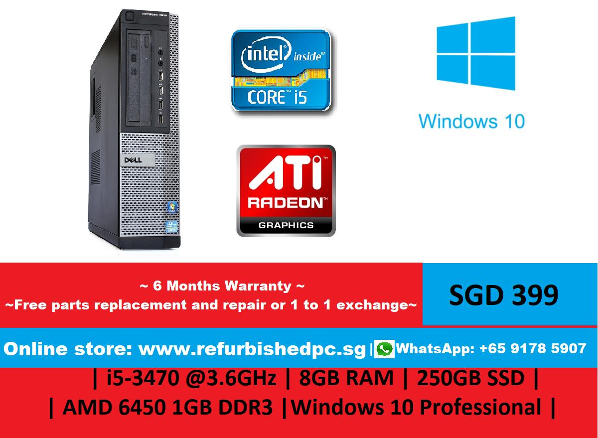 New Refurbished Upgraded Dell Optiplex 7010 Sff I5 3470 3 6Ghz 8Gb Ram 250Gb Ssd Amd 6450 1Gb Ddr3 Windows 10 Professional