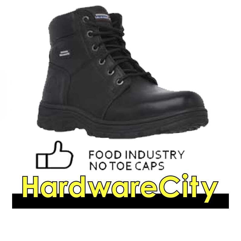 Skechers 77010 Work Relaxed Fit Black Mid Cut Lace Slip Resistant Shoes (oil Resistant) By Hardwarecity Online Store.