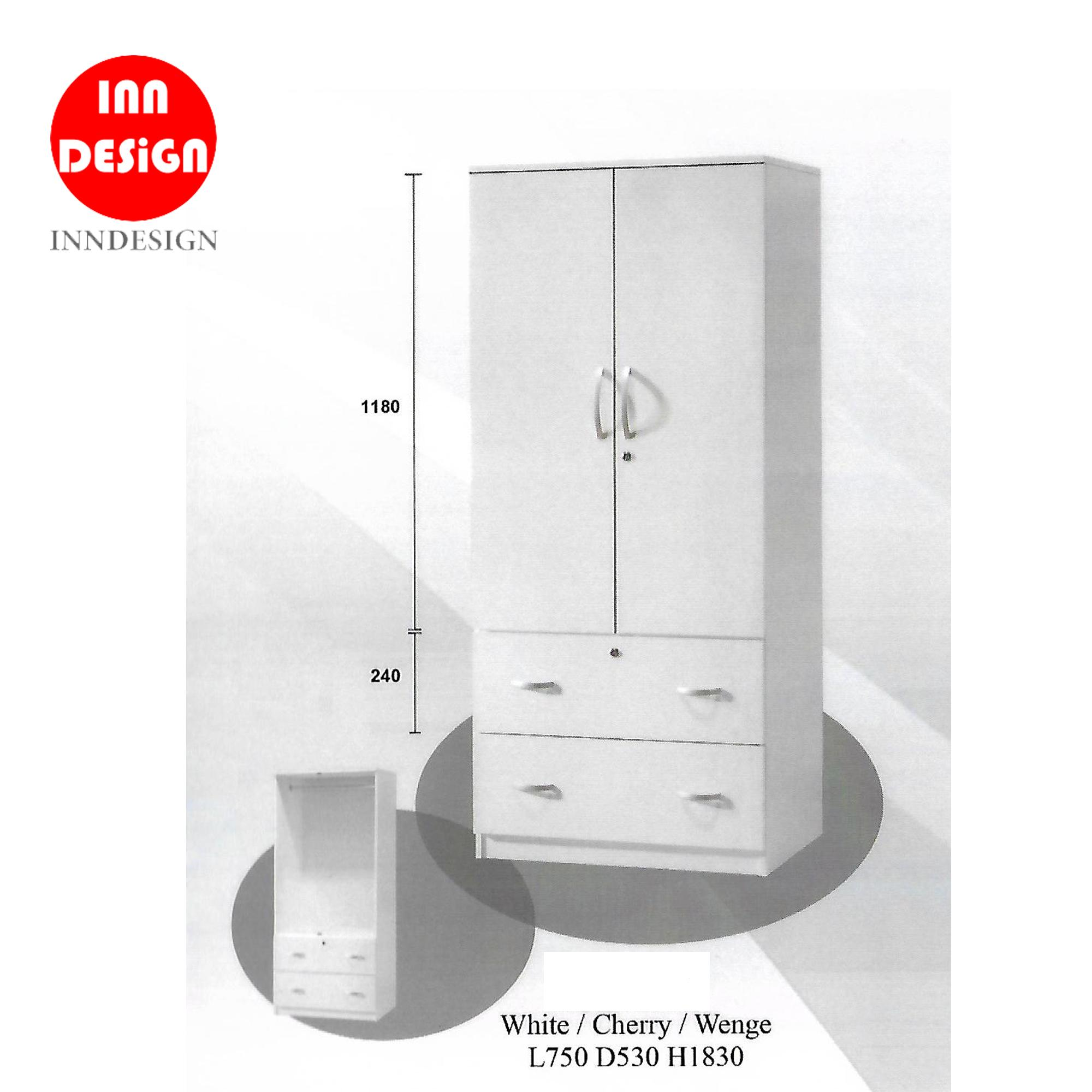 Dalle 2 Doors Wardrobe With 2 Big Drawers/ Open Wardrobe (White)