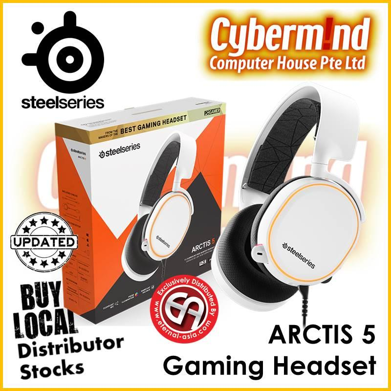 (UPDATED 2019 Edition) Steelseries Arctis 5 7.1 Surround RGB Gaming Headset (WHITE) PN:61507 (Local Distributor Stocks)