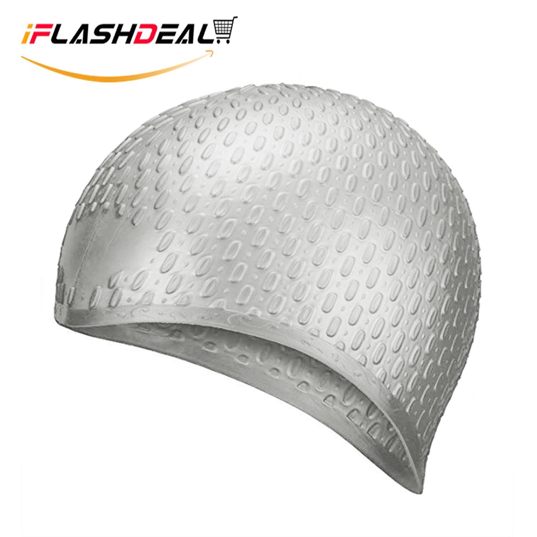27d1d679f4ef iFlashDeal Swim Caps Silicone Hat Swimming Cap For Adults Long Hair  Comfortable Fit Swim Cap Set