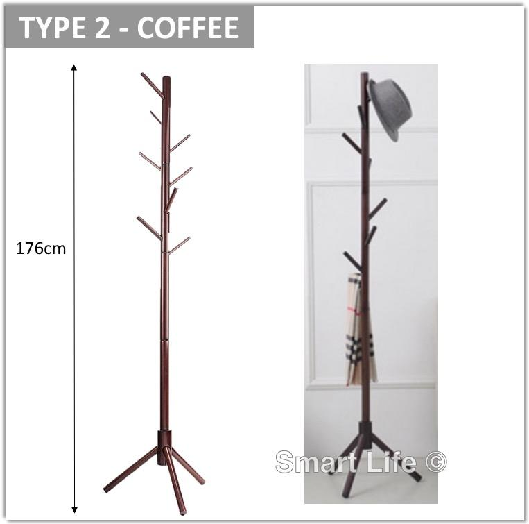 Wooden Standing Coat Rack 8 Hooks Solid Wood Hall Tree with Round Base Triangle Base Sturdy Stable Clothes Hanger Shelf
