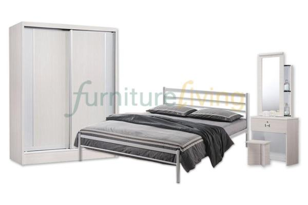Furniture Living New 4 in 1 Bedroom Set (Bedframe/Wardrobe/Dresser/Stool) with Queen size Euro-Top Spring Mattress 9inch Package