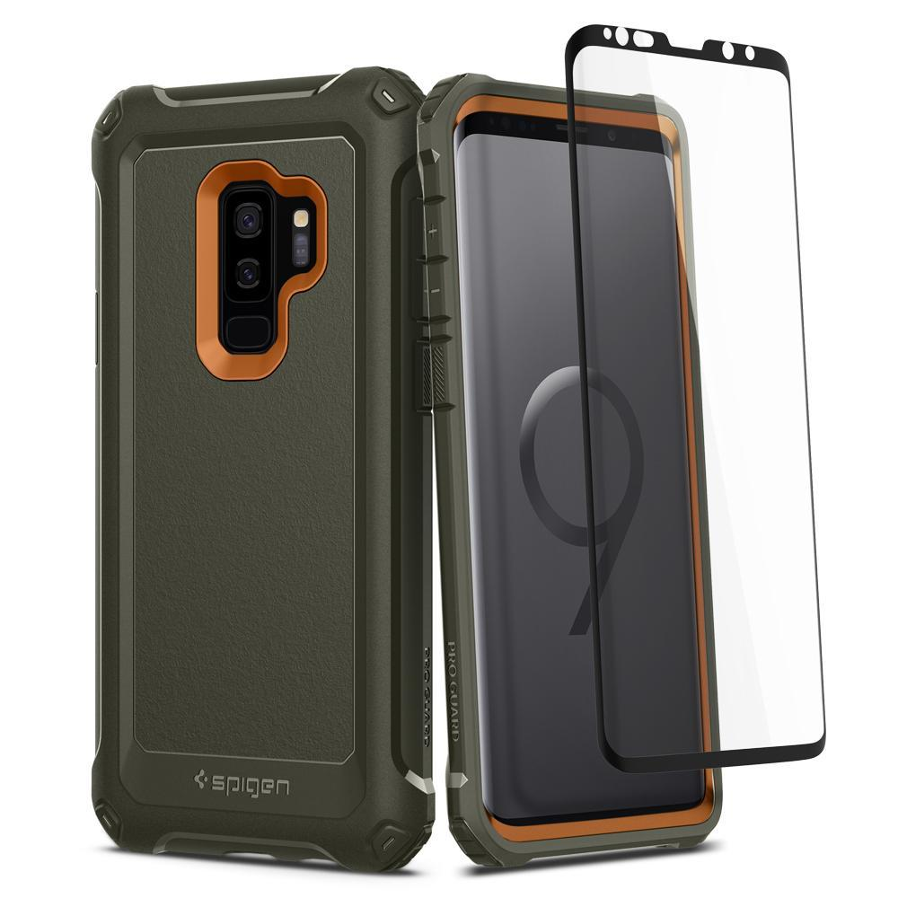 Lowest Price Spigen Samsung S9 Plus Case Pro Guard Full Cover With Tempered Glass