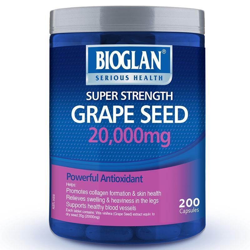 Bioglan Grape Seed 20000mg 200 Capsules, Nov 2020