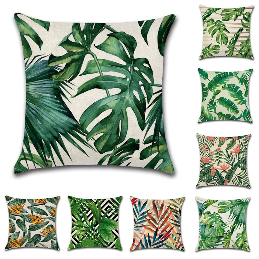 GZ Pack of 8 Tropical plant green leaves Cushion Covers Throw Pillows For Sofa Linen 45cm*45cm