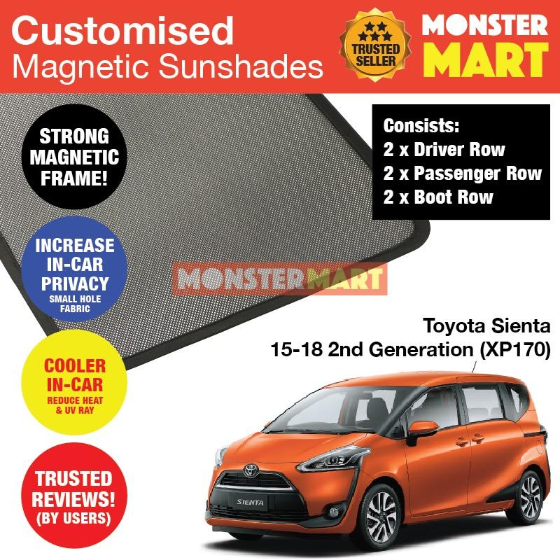 Buy Toyota Sienta 2015 2018 2Nd Generation Xp170 Customised Car Accessories Window Magnetic Sunshades 6 Pieces Online