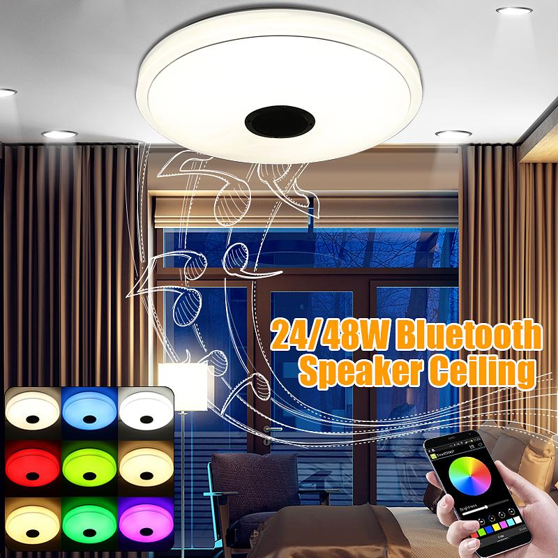 Modern LED Flush Mount Ceiling Light Lamp Fixture with Music Bluetooth Speaker - intl Singapore