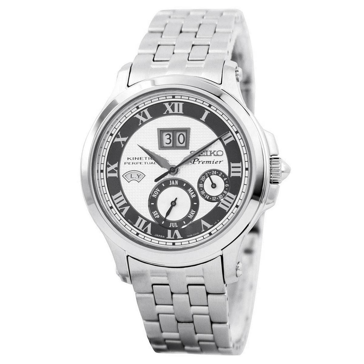Seiko Premier Kinetic Perpetual Silver Stainless-Steel Case Stainless-Steel Bracelet Mens SNP047P1