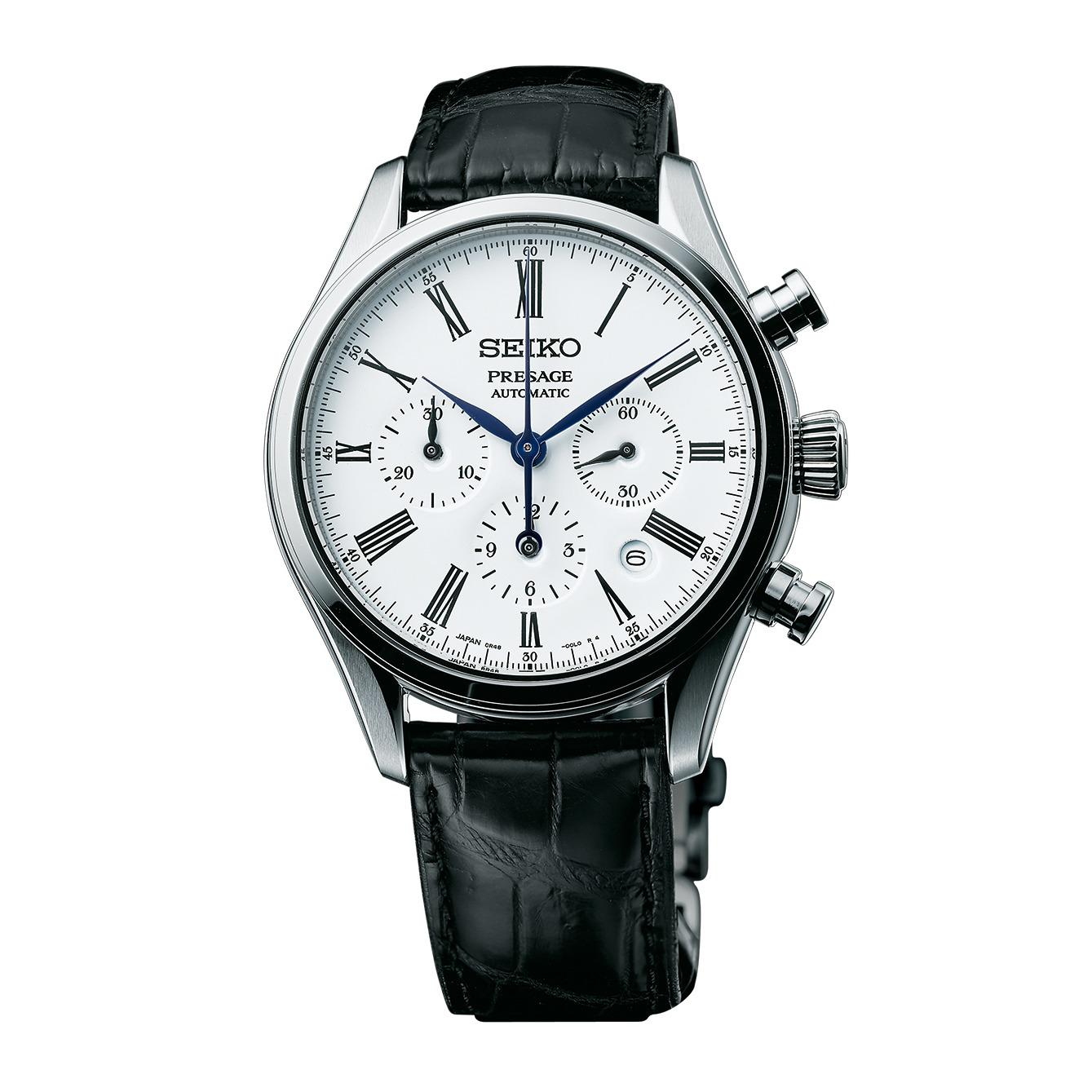 Buying Baselworld 2017 Model Brand New Seiko Presage White Enamel Dial Automatic Chronograph Mens Dress Watch Paired With Genuine Alligator Strap 8R48 Movement Srq023 New