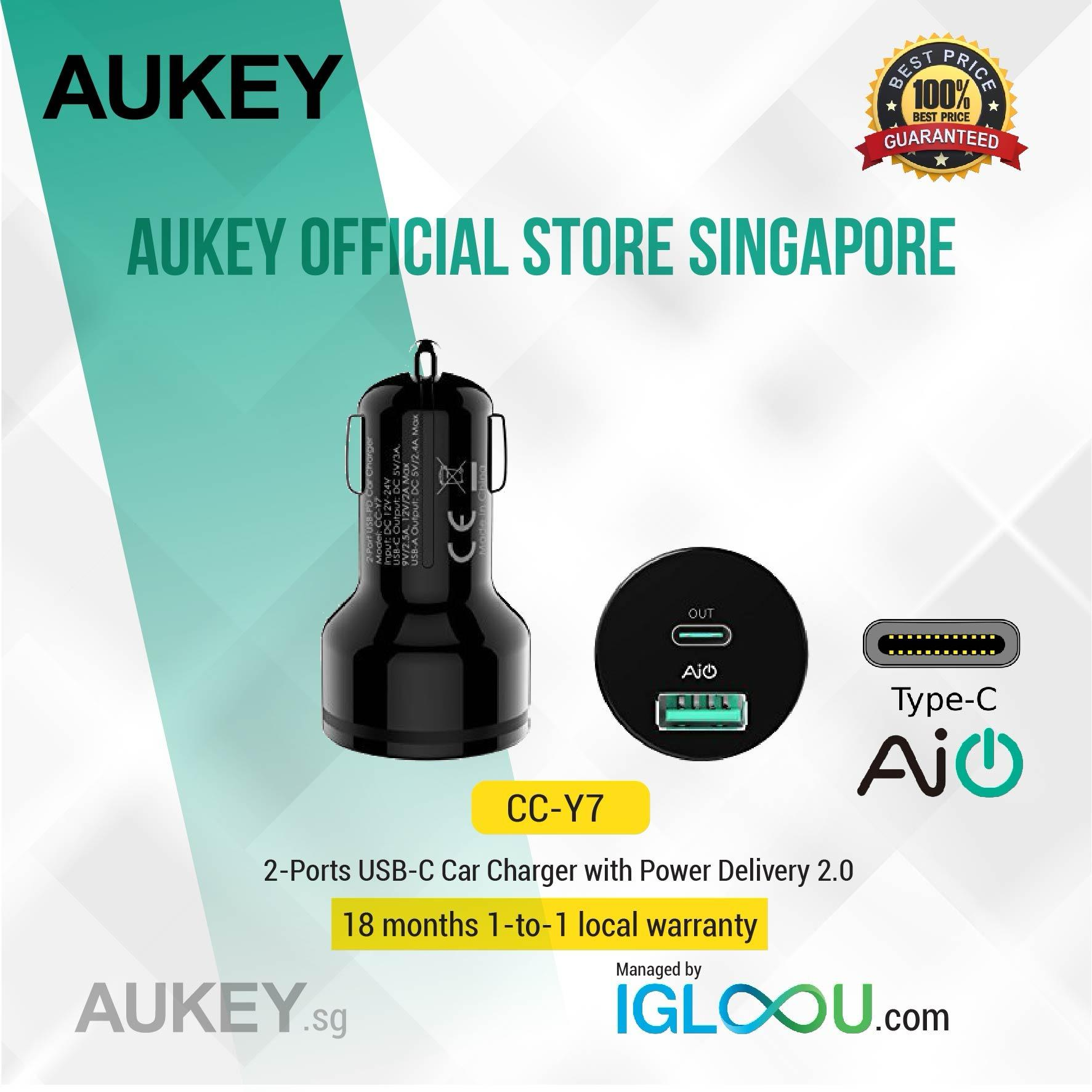 Buy Aukey Mobile Accessories Lazada Cb Cd5 Cable 1m Usb C To Quick Charge 30 Braided Nylon Car Charger With Power Delivery Dual Port 36w Output For Pixel