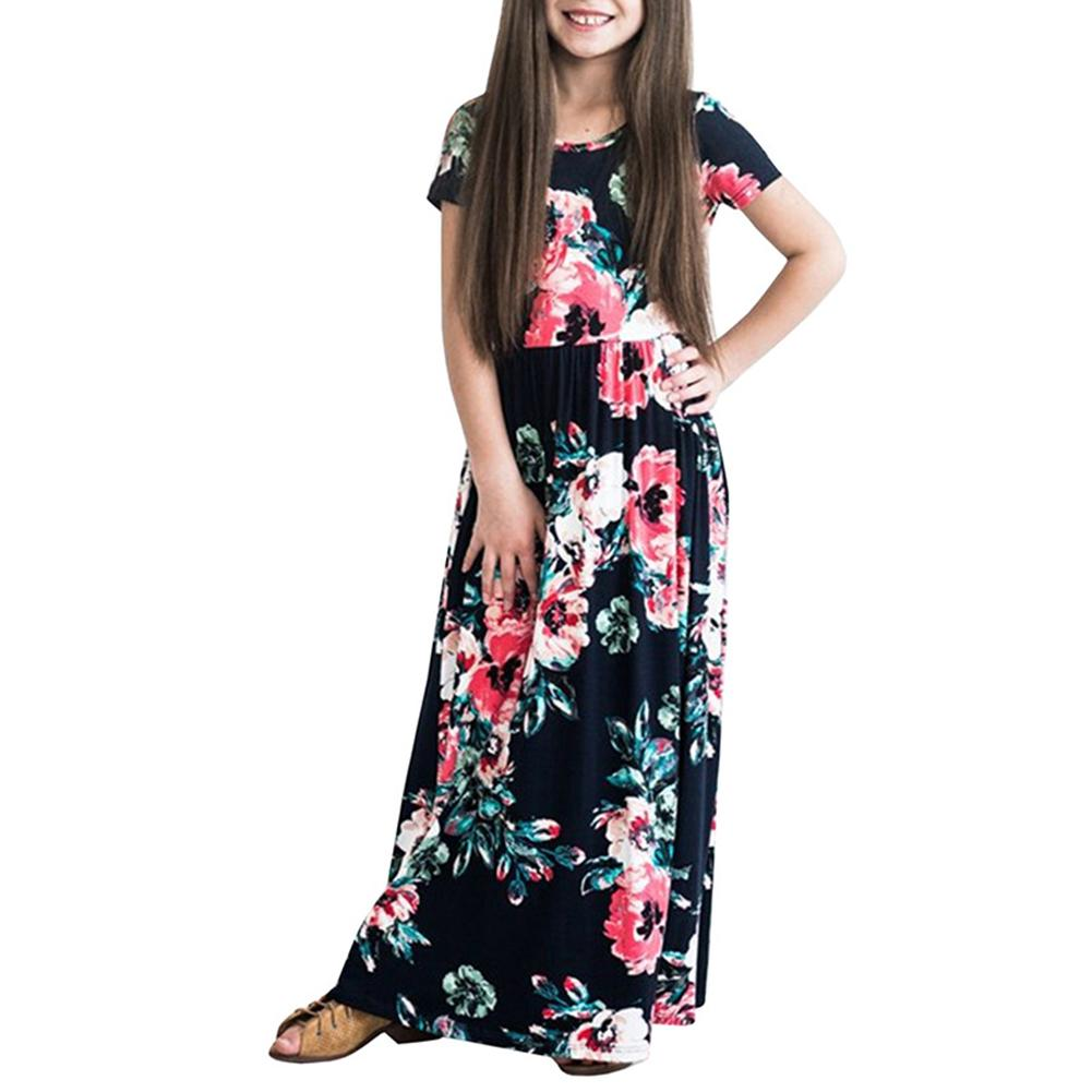 Veecome Girl Short Sleeve Floral Dress High Waist Long Maxi Dress Kids Clothing 100-140cm By Veecome.