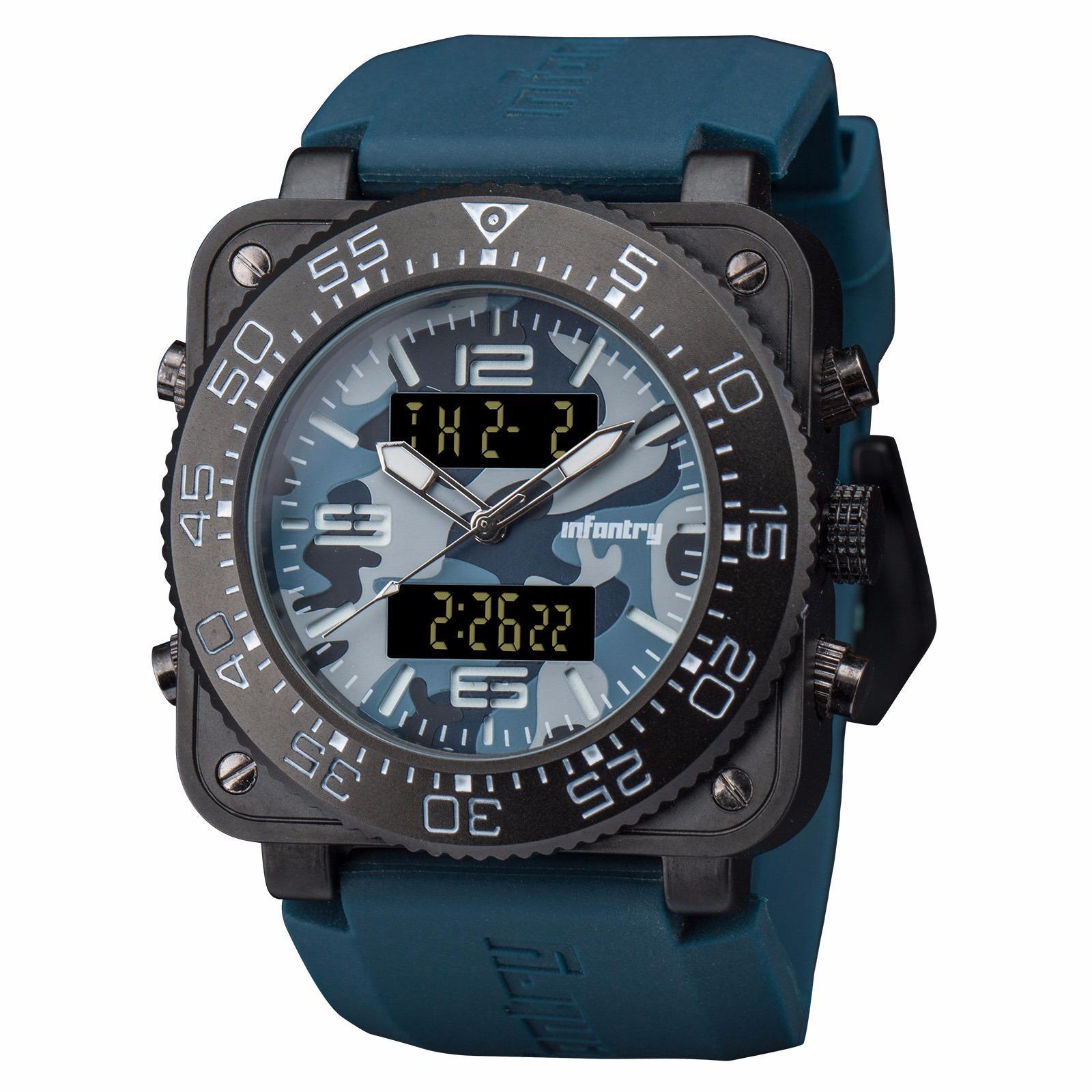 INFANTRY Mens Digital Quartz Wrist Watch Stopwatch Alarm Sport LCD Chronograph