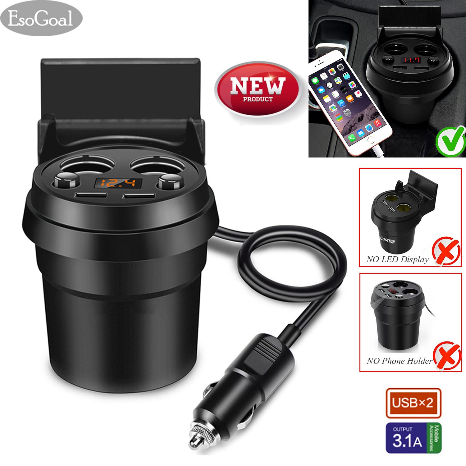Esogoal Car Charger, Car Cup Charger, 3 In 1 Quick Charge Travel Cup Holder With Led Display; 12v~24v Multi-Function Power Adapter Dual Usb Ports 3.1a & 2 Lighter Socket & Holder By Esogoal.