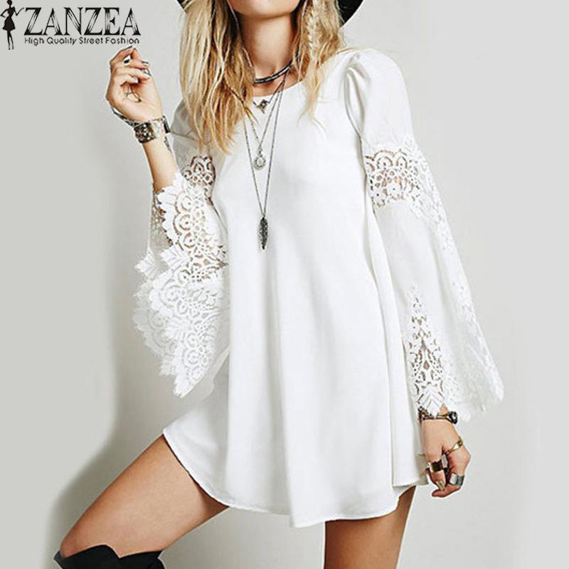 Buying Zanzea Fashion Womens O Neck Lace Crochet Hollow Vestido Ladies Long Sleeve Loose Party Casual Mini Shirt Dress Intl