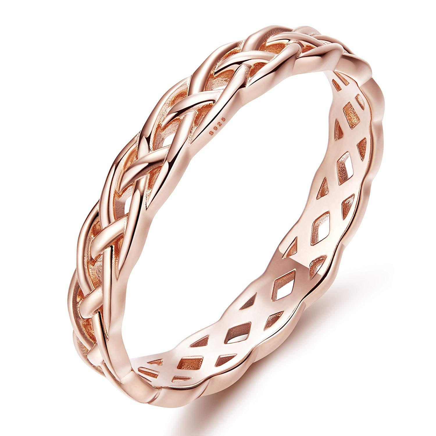Semaid Women 4mm Celtic Knot Eternity Band 925 Sterling Silver Ring Size 6-10 By Wripples.