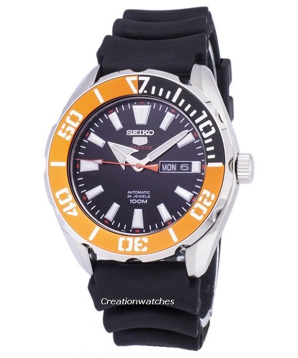 Seiko 5 Sports Automatic Men's Black Silicone/Rubber Buckle Clasp Watch SRPC59K1