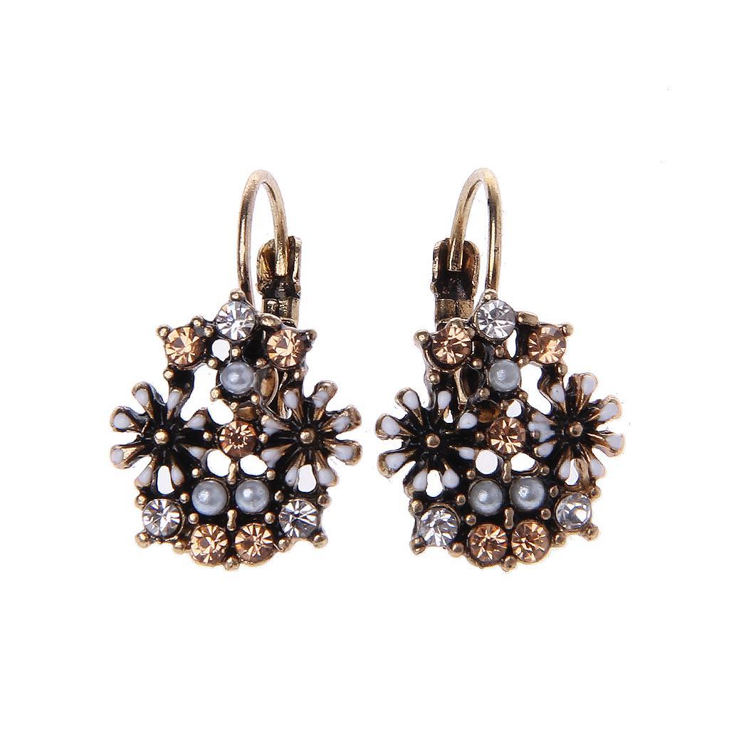 3c0435d86 Vintage Boho Crystal Pressed Flower Circle Dangle Drop Statement Earring  Women