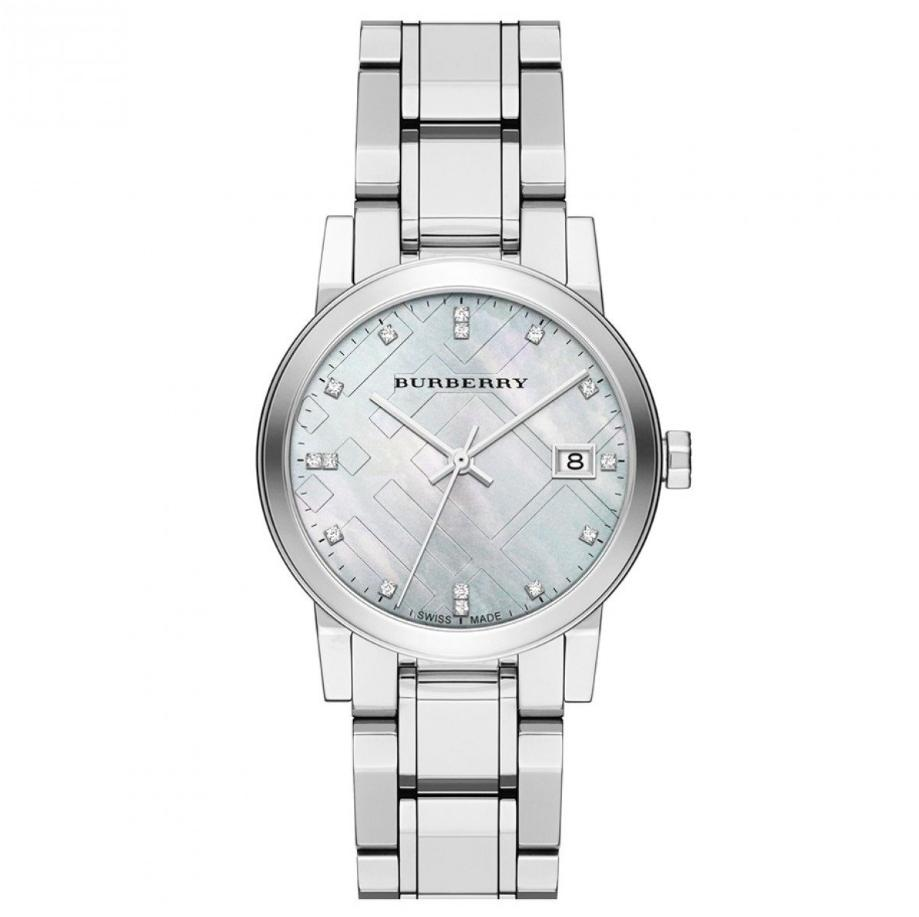 Burberry Diamond Accent Stainless Steel 34mm Ladies Watch Bu9125 By Watch Centre.