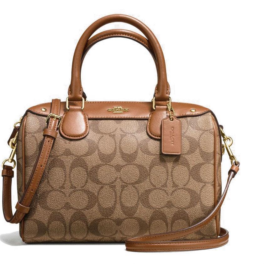 Discount Coach Mini Bennett Satchel In Signature Handbag Gold Khaki Saddle Brown F58312 Gift Receipt Singapore