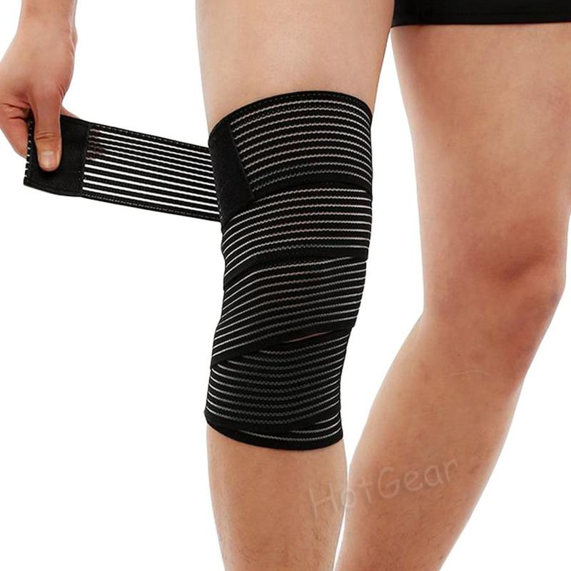 331cef9771 Knee Wraps - 180cm Long Sports Knee Strap for Training Gym Workout  Weightlifting Fitness Power lifting