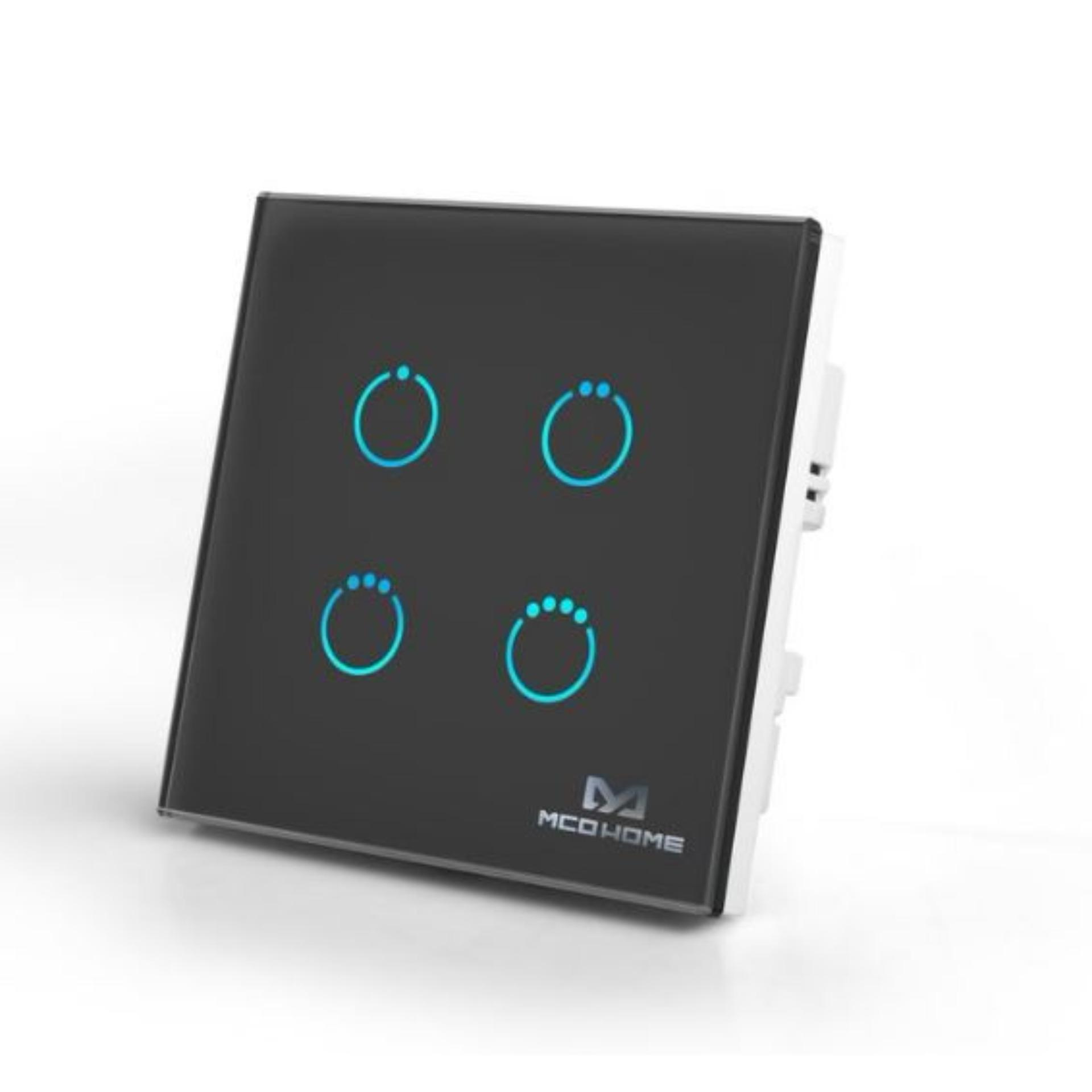 MCOHome Touch Panel Switch - Quad Black