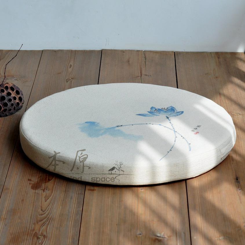 Primitive Hand-Painted Flax Round throw pillow da zuo dian Yoga Mat Futon Meditation Pad Tatami Window throw pillow Zen Washable
