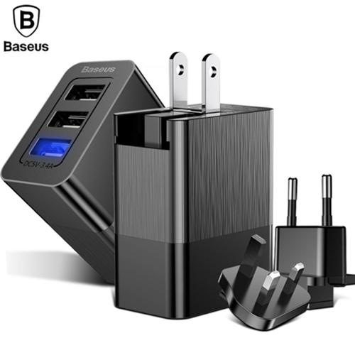 Baseus Duke Series Wall Charger 3 Port Usb Charger Adapter 3-In-1 Replaceable Plug Portable Travel Charger Plug By Gxm Gadgets.