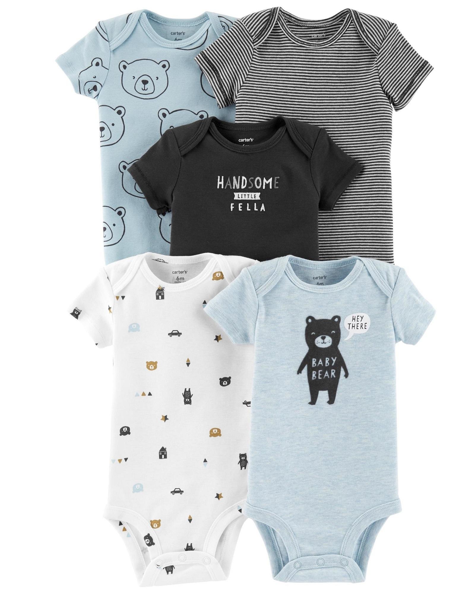 a6266927c52bd Carters 5-Pack Bear Original Bodysuits Blue Bear Baby Boy Carter's
