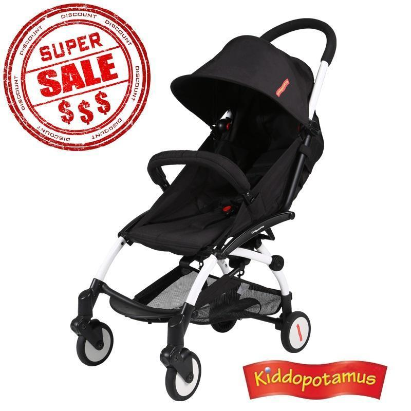 Kiddopotamus® Cabin size Ultra Lightweight one hand fold baby stroller - Black Color Singapore