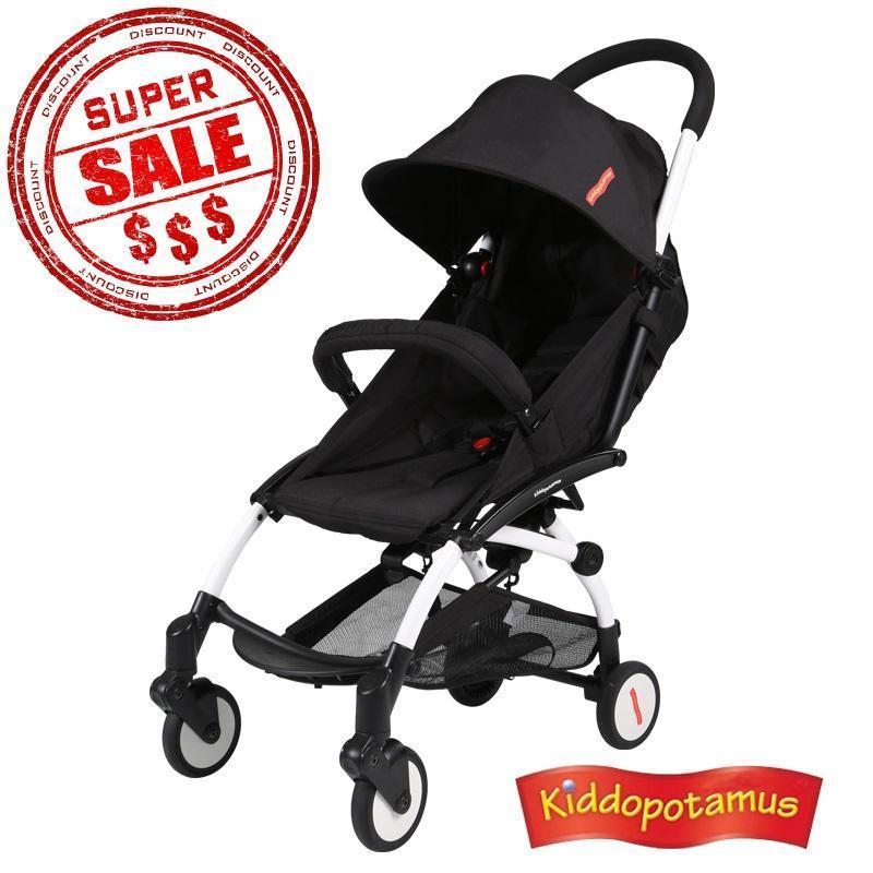 Kiddopotamus® Cabin size Ultra Lightweight one hand fold baby stroller - Black Color Singapore