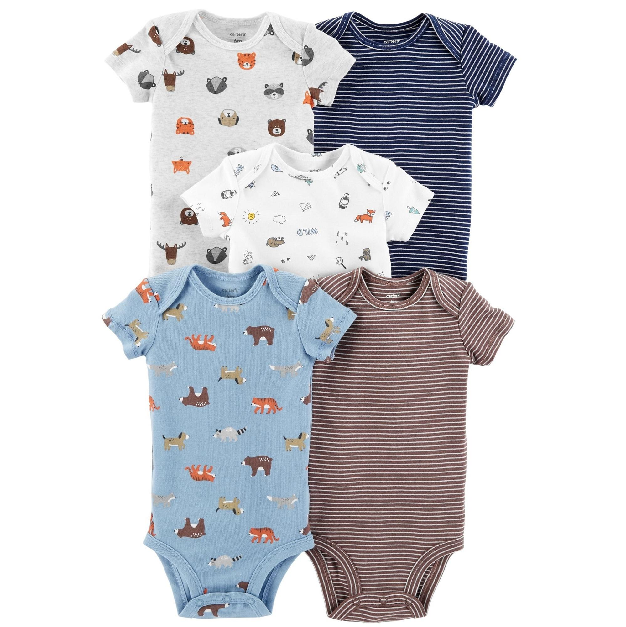 CABY129 Carters Baby Boys 5-Pack Animals Original Bodysuits Rompers 0b35fb2c46f
