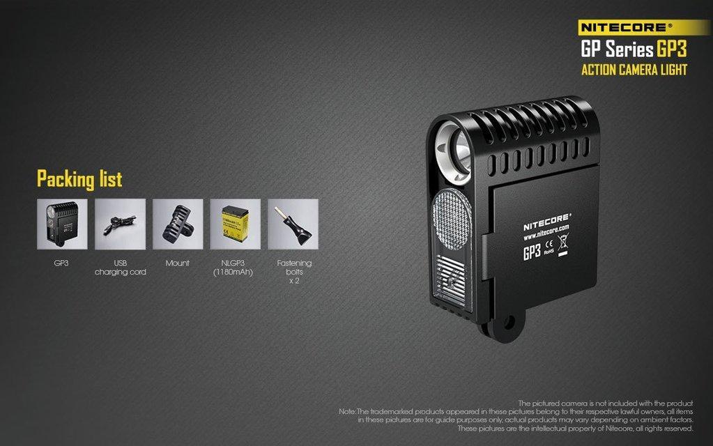 Nitecore GP3 ACTION CAMERA LIGHTS (GO PRO Compatible)