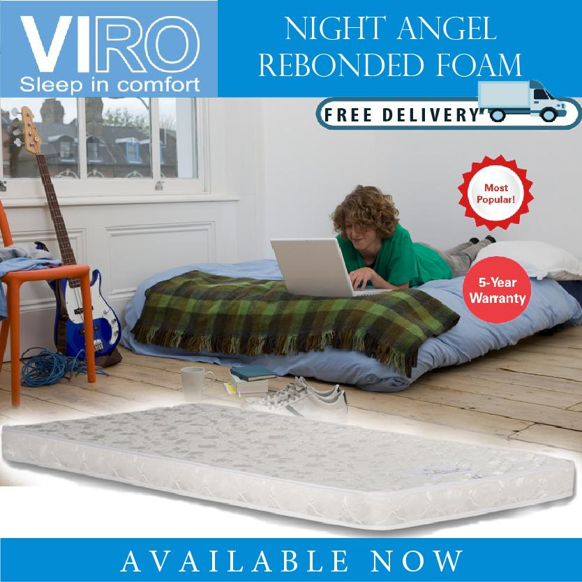 VIRO BRAND Night Angel 4 INCH Foam MATTRESS SINGLE/ SUPER SINGLE SIZE AVAILABLE FREE DELIVERY