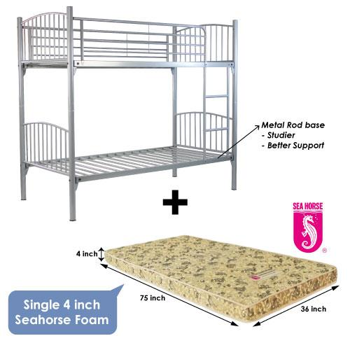 [A-STAR]  Silver Metal Double Decker bed + 4inch Seahorse Foam