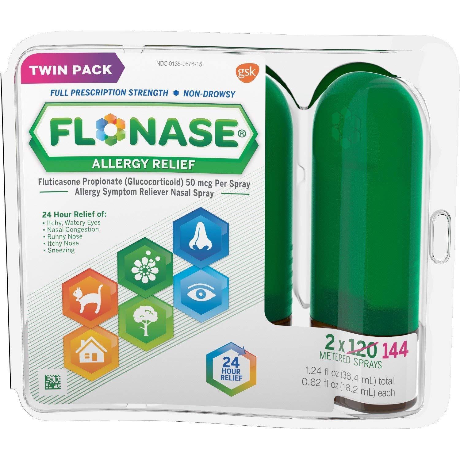 Flonase 24hr Allergy Relief Nasal Spray, Full Prescription Strength, 288 Sprays (twinpack Of 144 Sprays) By Sg Health.