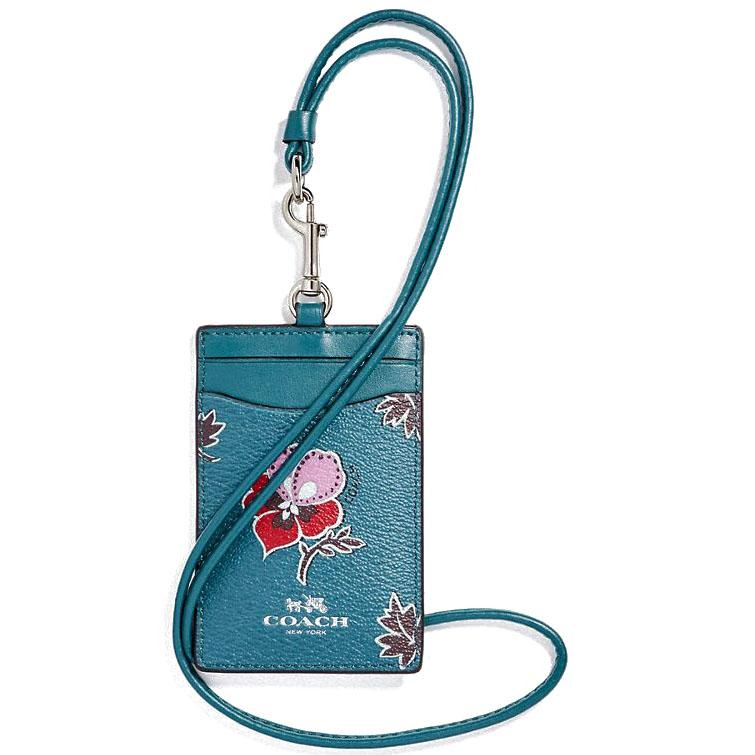Great Deal Coach Id Lanyard In Wildflower Print Coated Canvas Silver Dark Teal F12554