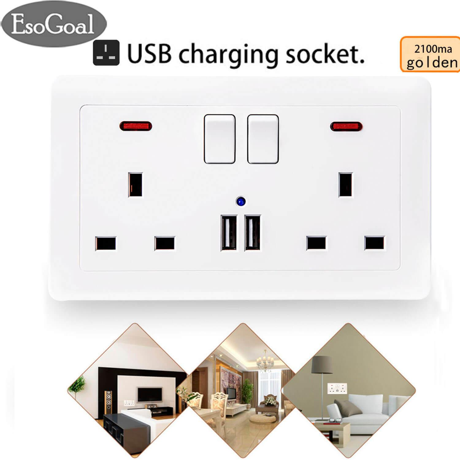 Esogoal Usb Wall Socket Charger Double Wall Switched Socket Wall Plug Socket With 2 X Usb Charger Ports By Esogoal.