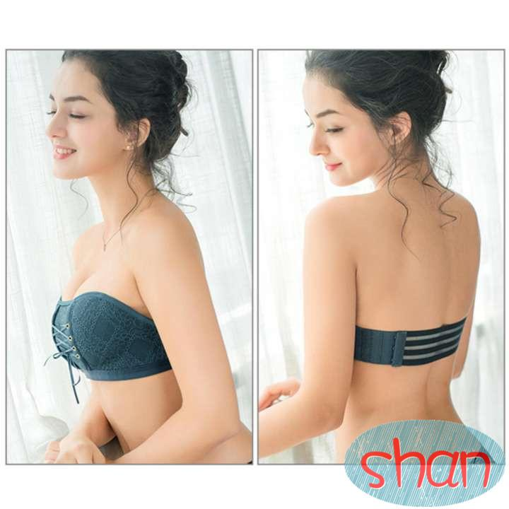 f3f5807d71 SHAN Women Strapless Invisible Lace Underwear Push Up with Drawstrings Bra(4  Color)