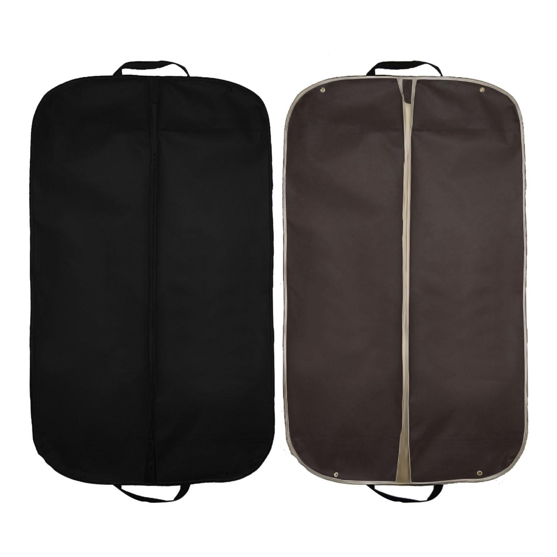 2 Pcs Foldable Nonwoven Garment Suit Dress Jacket Clothes Cover Carrier Bag With Handles Prevent Moths Dust Dirt 60 X 100cm Black + Coffee By Duha.