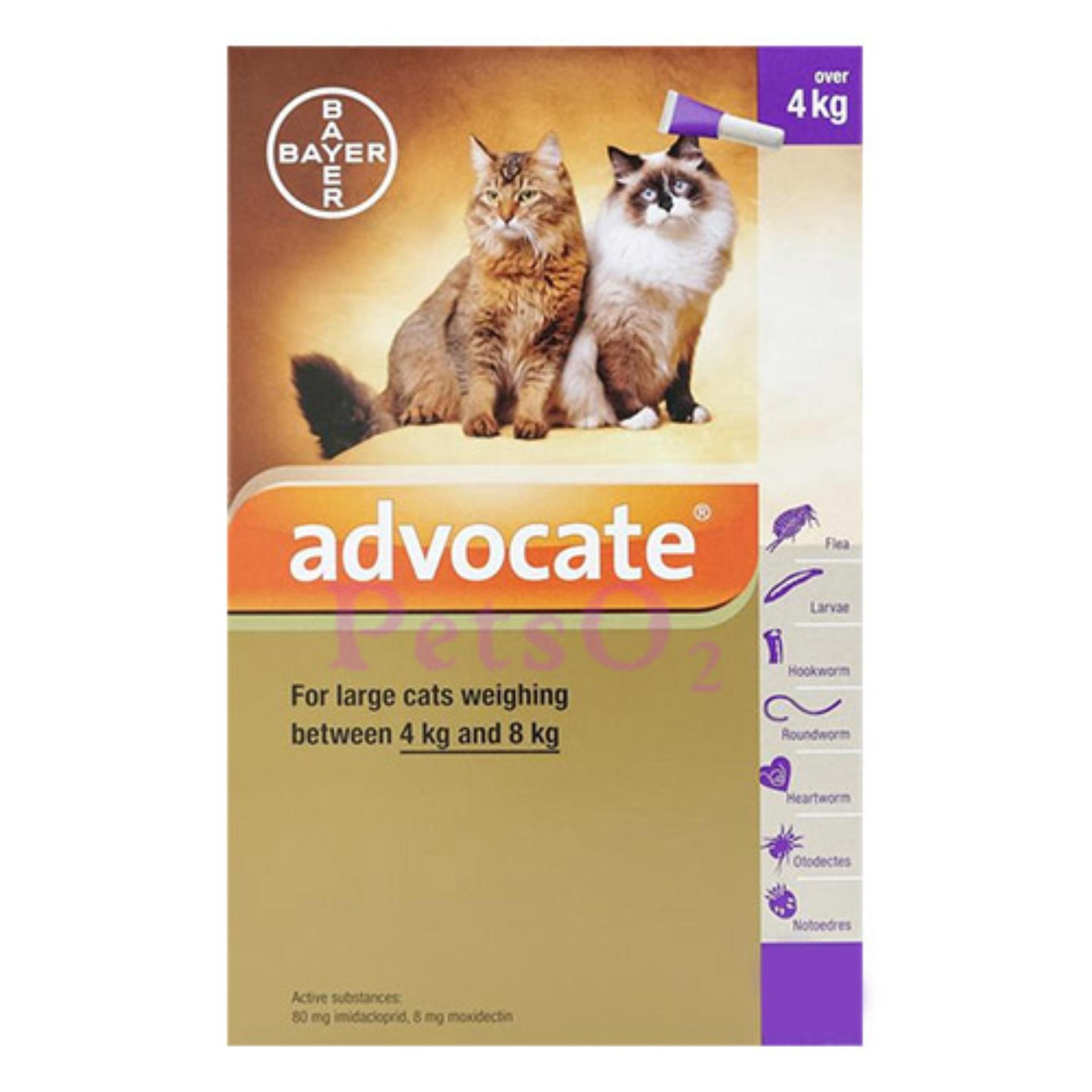 Bayer Advocate Flea And Heartworm Treatment For Cats (4-8kg) By Petso2.