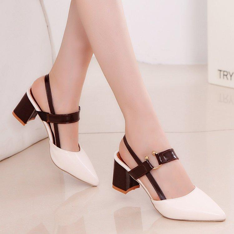 Straight-Line Buckle Sandals Nv Chun Semi-High Heeled 2019 New Style Closed-Toe Pointed High Heel Shoes Retro Color Matching Block Heel Rome Shoes By Taobao Collection.