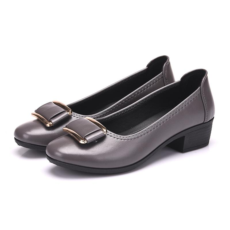 2019 New Style Korean Style Womens Shallow Mouth Semi-High Heeled Leather Shoes Schick Mom Shoes Anti-Slip Middle-Aged Womens Shoes Work Shoes By Taobao Collection.