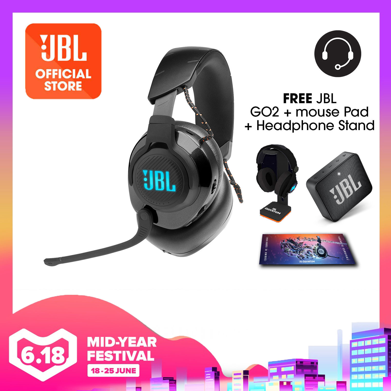 JBL Quantum 600 Wireless over-ear performance gaming headset with surround sound and game-chat balance dial Bundle (Quantum Headphone Stand + Gaming Mouse Pad + JBL GO 2 | Why Not Deals