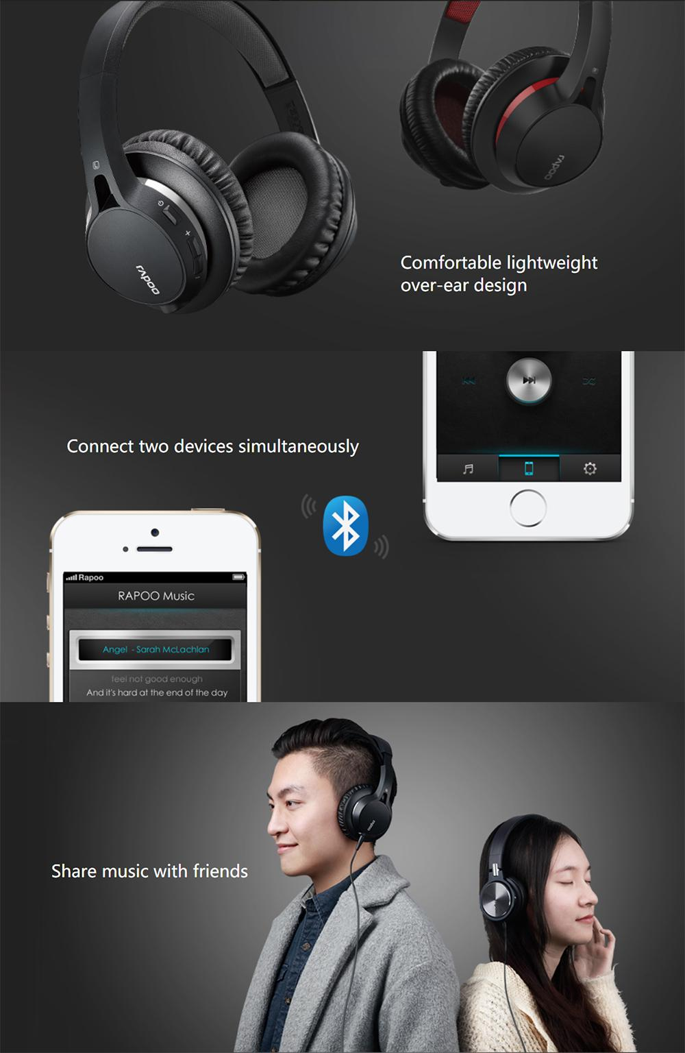 8f28c3e9bb3 Specifications of Rapoo S200 Bluetooth 4.1 Middle Level Over Ear Headset  Stereo Headphones