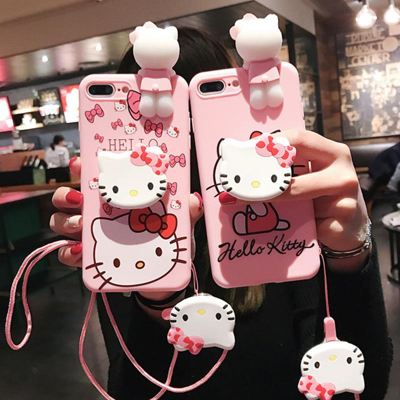 For Oppo F9 Case Cover Soft TPU Silicone Hello Kitty 3D Cute Pattern Phone  cases For Oppo F9 Pro Cover + Ring Holder + Phone Lanyard Protective Shield